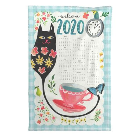 big kitty tea towel calendar spoonflower