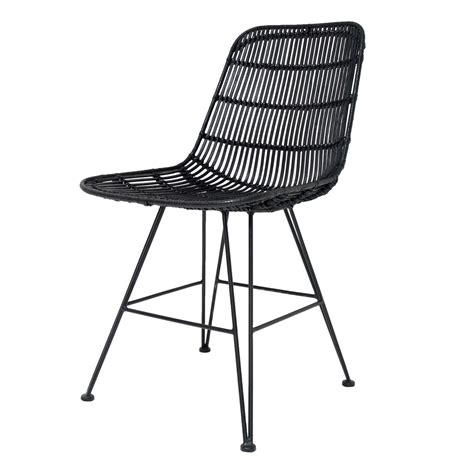 scandi style rattan dining chair in black dining chairs