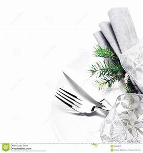Elegant Table Setting Place With Festive Decorations On