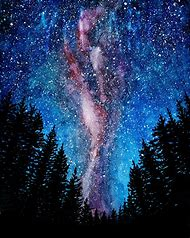 Milky Way Galaxy Watercolor Paintings