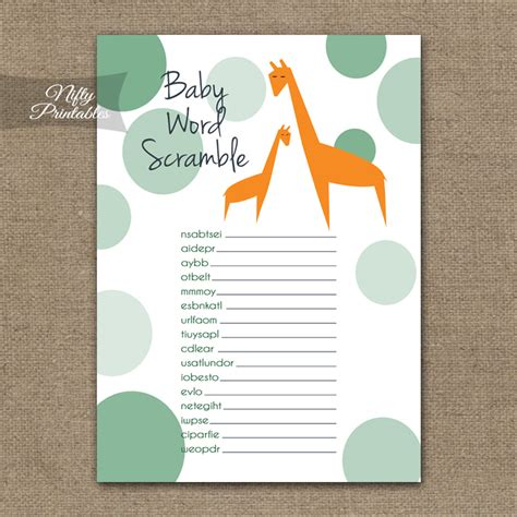 printable baby shower word scramble game orange giraffes