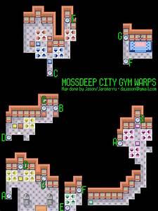 Pokemon Emerald Version Mossdeep City Gym Warps Map For