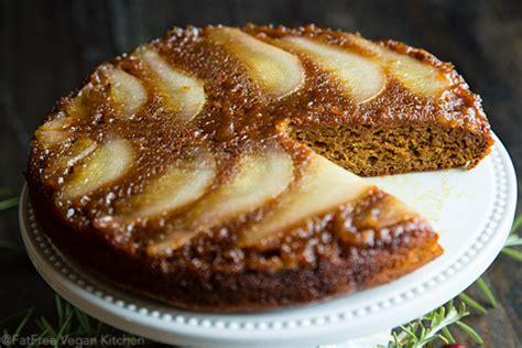 pear spice upside  cake recipe  fatfree vegan
