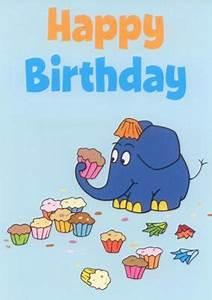 Happy Birthday Maus : mt happy birthday elefant mit muffins sendung mit der maus postkarte ~ Buech-reservation.com Haus und Dekorationen
