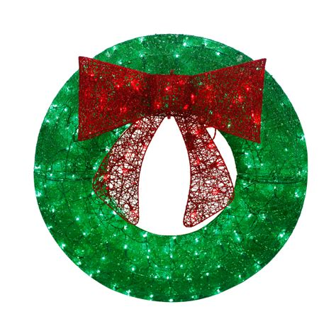 lighted christmas wreath outdoor shop living 36 in pre lit indoor outdoor electrical outlet green sequin artificial