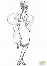 Coloring Boa Scarf Dress Pages Fur Woman 1930s 1930 Cocktail Drawing Printable Creative Commons sketch template