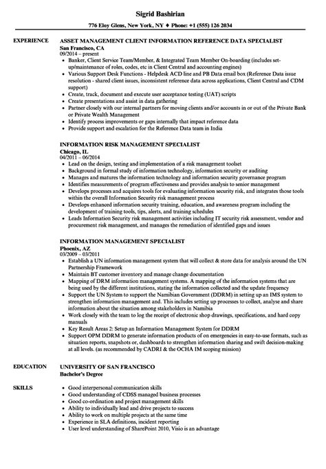 resume for information management specialist information management specialist resume sles velvet