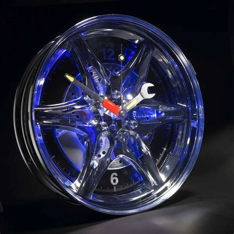 light up car alloy wheel wall clock neon blue led tyre rim