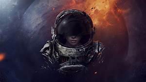 Astronaut helmet girl planet wallpaper | 2560x1440 ...