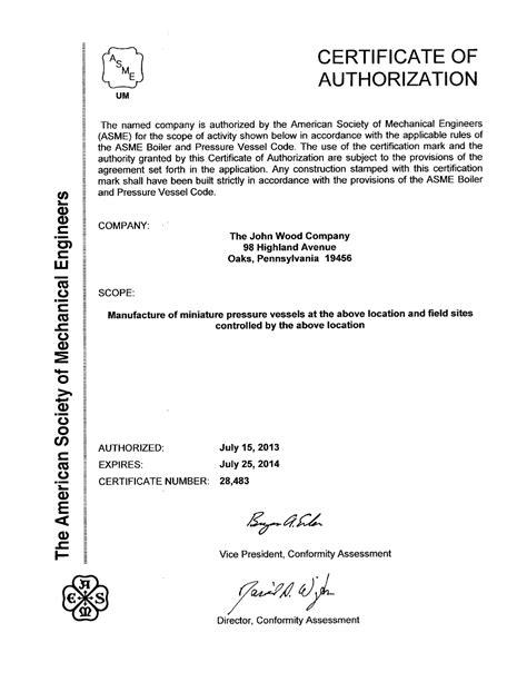The John Wood Company Certificates - The John Wood Company
