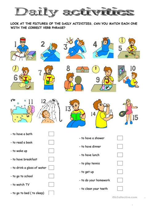 33 free esl daily activities worksheets