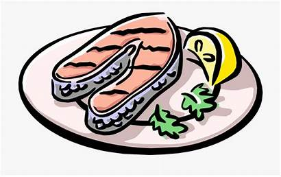 Salmon Plate Cooked Grilled Clipart Cartoon Served