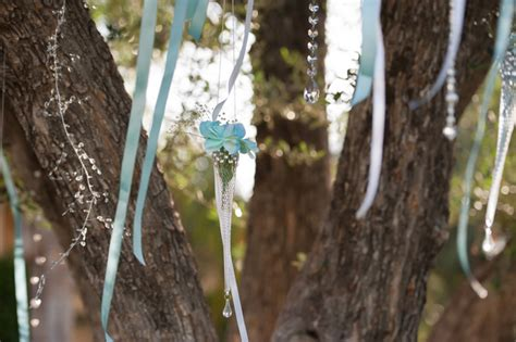 wedding decorations hanging from trees outdoor california wedding at miramonte resort and spa