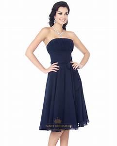 Navy Blue Strapless Knee Length Chiffon Bridesmaid Dress ...