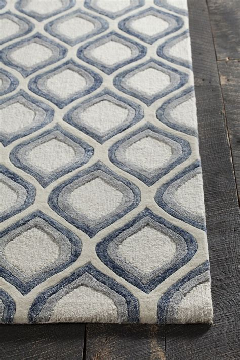 blue grey area rug clara collection tufted area rug in white grey