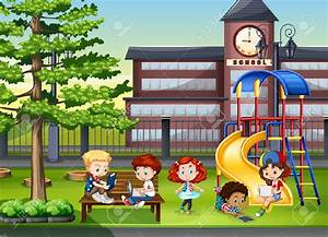 Playground clipart scool - Pencil and in color playground ...