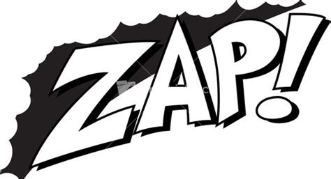 zap clipart black and white bam comic expression vector text stock image