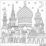 Coloring Pages Islamic Mosque Crescent Adults Oriental Ramadan Drawing Colouring Sheets Printable Justcolor Activities sketch template