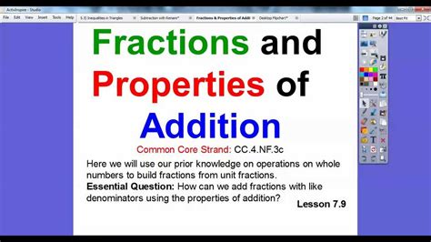 Fractions And Properties Of Addition  Section 79 Youtube