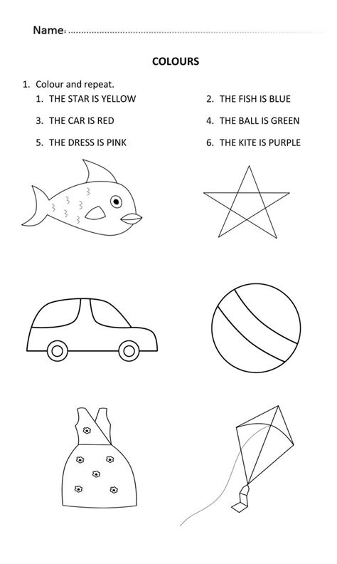 colours worksheet     years  learningcolours