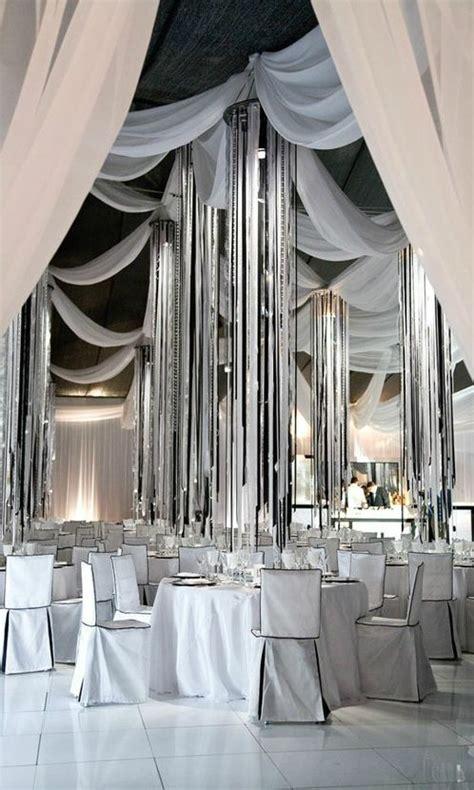 black white silver wedding reception decor ideas