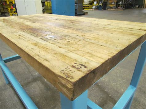 Industrial Butcher Block Workbench Table Welded Steel