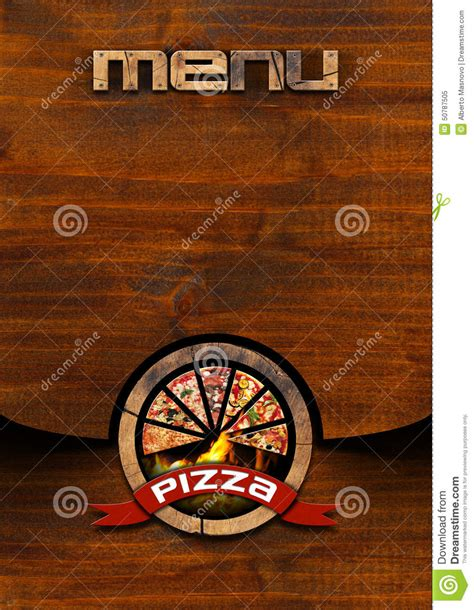pizza rustic menu design stock illustration image