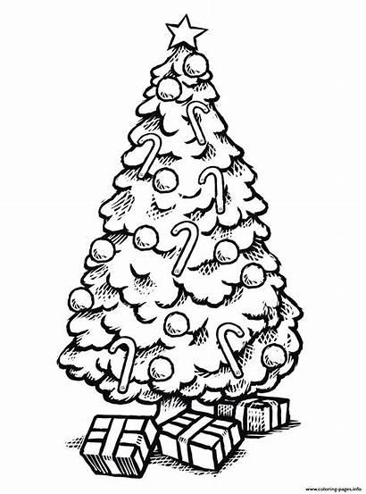 Coloring Tree Gifts Kerst Kleurplaten Drawing Disney