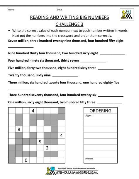 4th Grade Math Worksheets Reading Writing Big Numbers 3  Výuka  4th Grade Math Worksheets, 4th