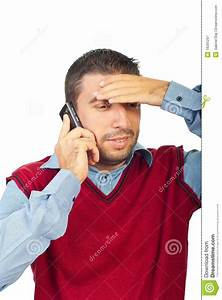 Confused Man Talking By Phone Mobile Stock Image - Image ...