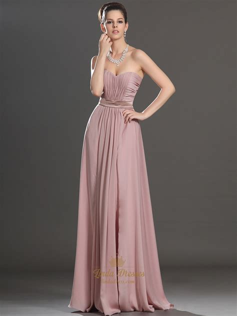 dusty pink   sweetheart strapless ruched chiffon