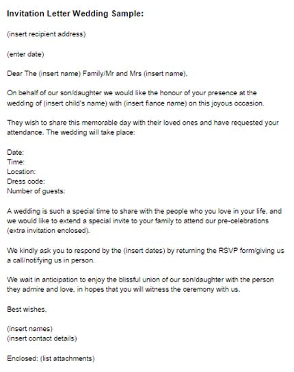 Awesome Wedding Invitation Letter Formal