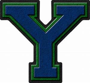 Presentation Alphabets: Royal Blue & Green Varsity Letter Y