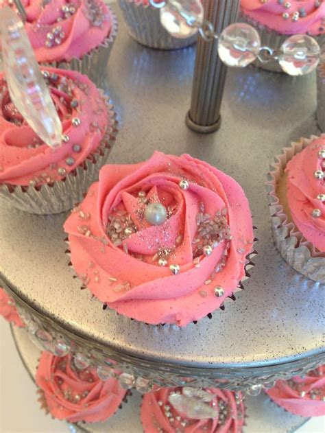 pink silver cupcakes for a sweet 16th birthday bash