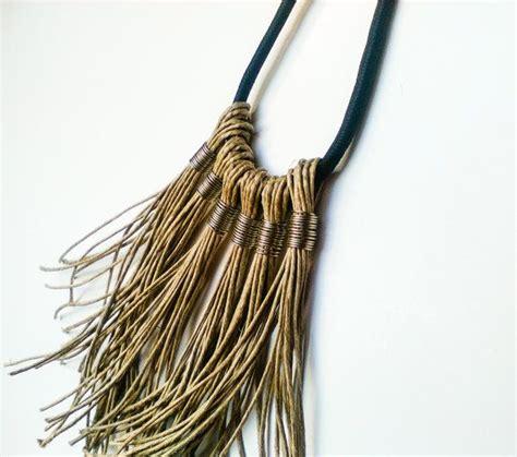 Long boho fringe necklace pendant on black rope, statement