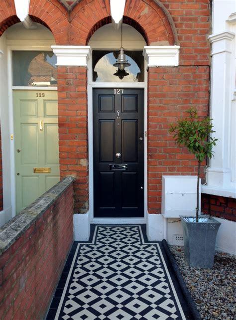 black  white victorian mosaic tile path balham london