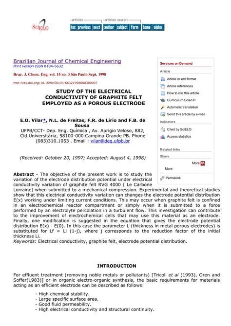 study   electrical conductivity  graphite felt employed   porous electrode