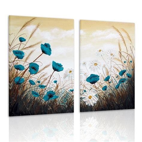 modern canvas prints home decor wall painting blue flower unframed new ebay