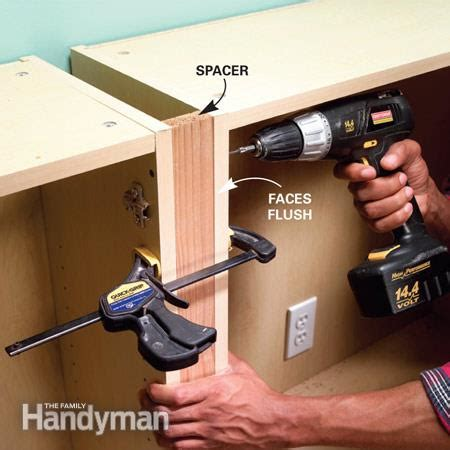 how to attach kitchen cabinets together stylish shelves the family handyman 8500