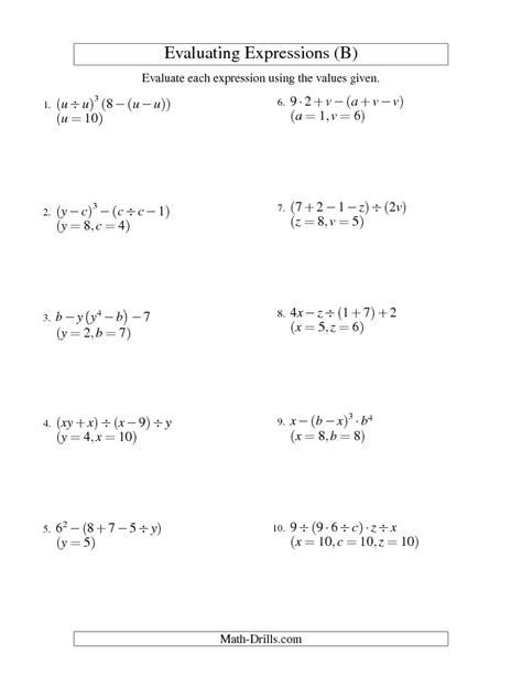 order of operations and evaluating expressions worksheet algebra worksheet evaluating five step algebraic