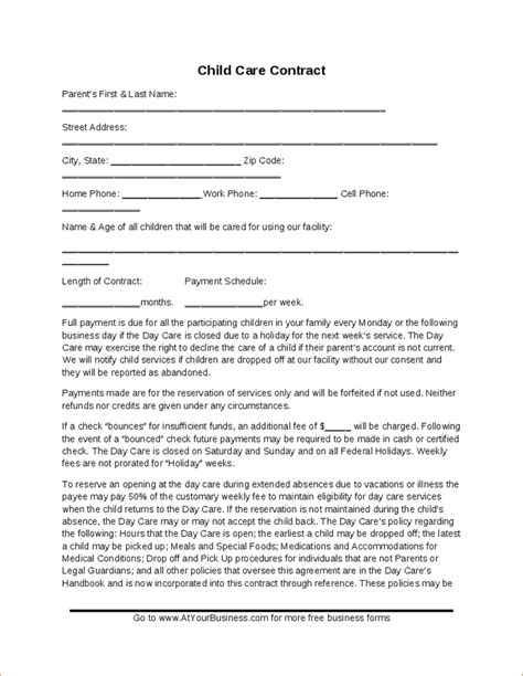 daycare contract template child care contract template hashdoc childcare ideas childcare daycare