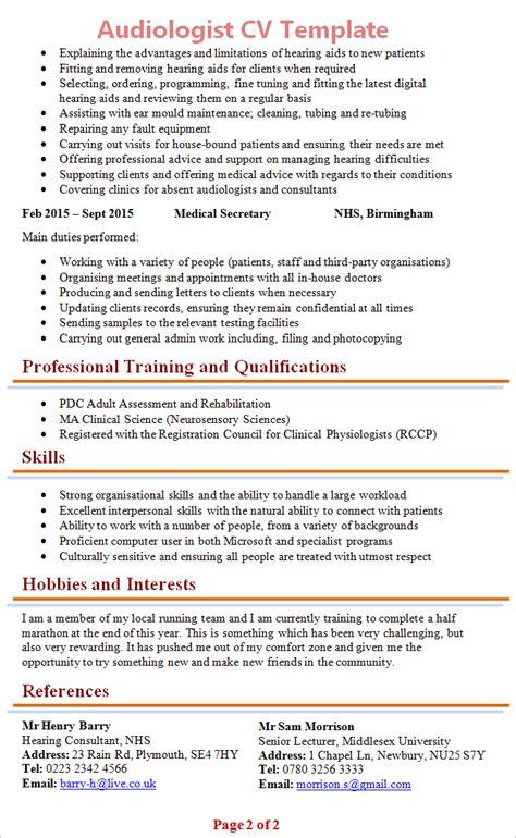 audiologist cv template