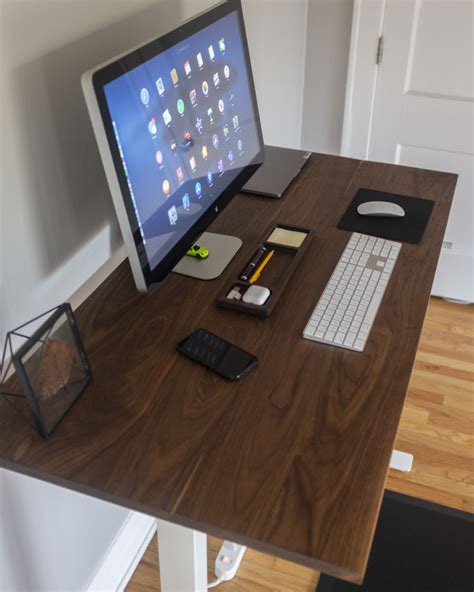 8 ikea desk hacks that will take your breath away. Custom Walnut top for IKEA SKARSTA Desk with magnetic tray ...