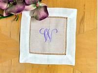cloth cocktail napkins Set of 4 Monogrammed Linen Cocktail Napkins 1 Initial Font J
