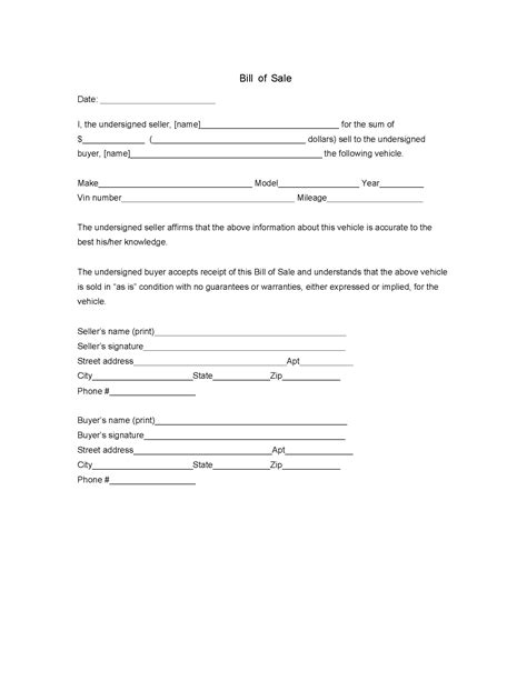 bill ofsale bill of sale legalforms org