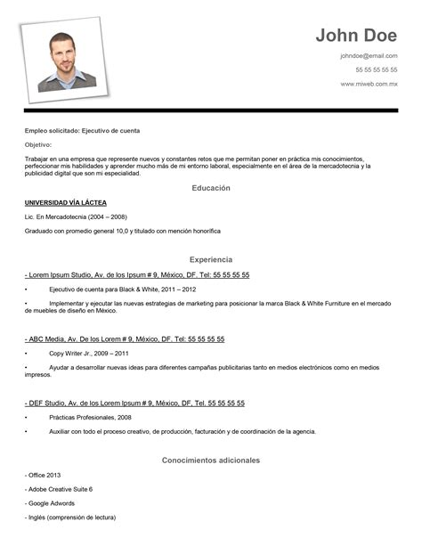 Curriculum Vitae Template For Word 2013 by Ejemplos De Curriculum Vitae En Word