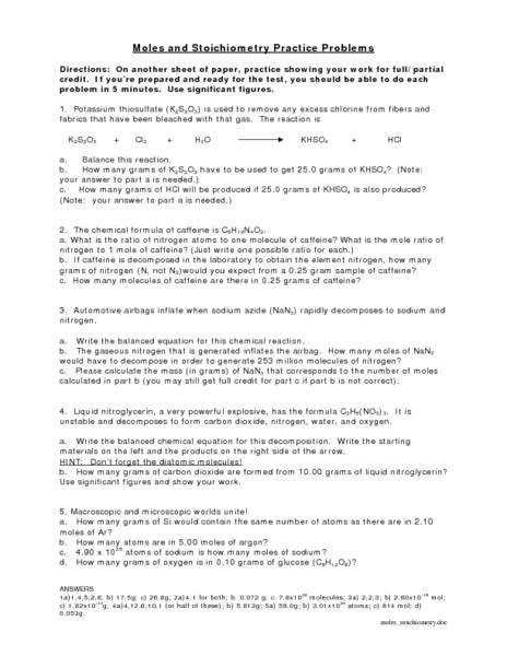 stoichiometry problems worksheet homeschooldressage