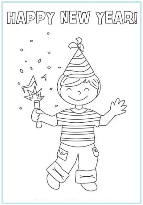 Free Printables for Kids 2014 New year coloring pages