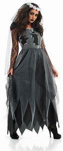 Damen Halloween Kostuem Schwarze Leichen Braut Outfit Mit