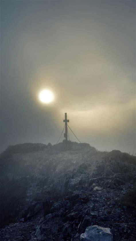 mountains landscapes cross fog mist sunlight wallpaper